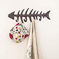 "Comfify Decorative Fish Bones Wall Mount Towel Rack Stylish Cast Iron Hanger w/ 4"" Fish Hooks 
