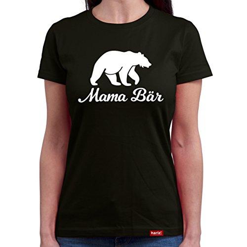 HARIZ  Mama Bär//Original Damen T-Shirt Rundhals - 16 Farben, S-XXL//Gratis Geschenkkarten | Weihnachten | Muttertag | Geschenk #Mama Collection Black L