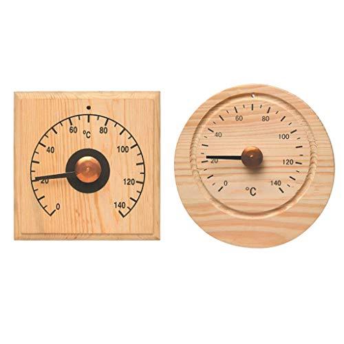 Aspen Labs (F Fityle Runder Hölzerner Hygrometer Feuchtigkeitsmesser, Thermometer Temperatur Monitor, Saunaraum Zusatz)