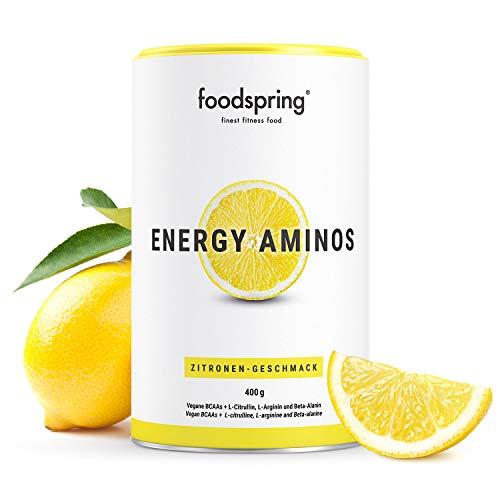 foodspring Energy Aminos, 400g, Zitrone, Pre-Workout Booster mit pflanzlichen BCAAs, 100% Workout-Booster 0% Chemiekeule