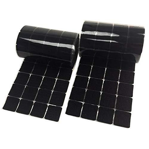 wxboom 200Paar quadratisch schwarz Träger 2,5cm/25mm selbst adhestive Haken- und-Loop Streifen mit wasserdicht Sticky Klebstoff Verschluss