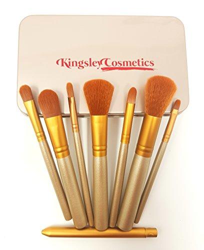 Lot de brosse de maquillage - Professional Poignée en bambou Kabuki Maquillage Brosse Fond de teint Mélange Blush poudre Brosse Lot de pinceaux de Cosmétique Avec boîte par Kingsley Cosmetics