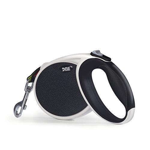 DELE Roll-Leine 7m Hundeleine Gurt für Mittlere und Große Hunde bis 50kg (schwarz)