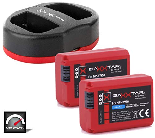 Baxxtar Pro Set - Repuesto para batería Sony NP-FW50 (2X) con Cargador Twin Port 1822 (USB Dual)