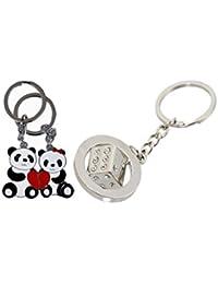 MGP Fashion Metal Diamond Dice And Panda Car & Bike Key Chain (Silver)