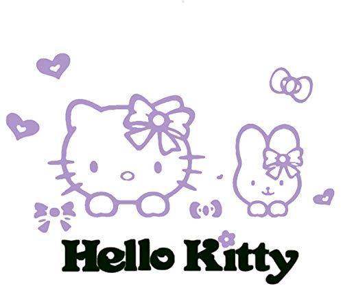 KWOKGUO Wand Aufkleber 3D Hello Kitty Acryl Zimmer Aufkleber Family Wandtattoo Decor Home Verbesserung Speicher mit Kids , Kinderzimmer 80x 55,1cm 31.5*21.7 inch Violett (Hello Kitty Aufkleber Für Die Wand)