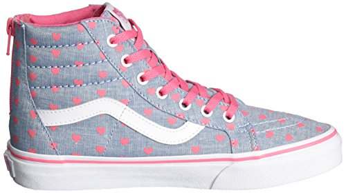 Vans Uy Sk8-Hi Zip, Sneakers Hautes Fille Bleu (Chambray Hearts Blue/true White)