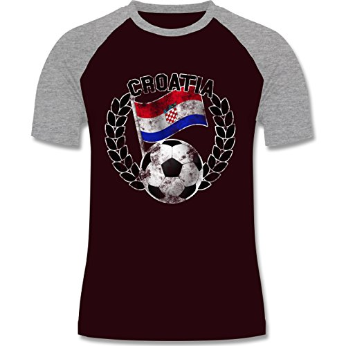 EM 2016 - Frankreich - Croatia Flagge & Fußball Vintage - zweifarbiges Baseballshirt für Männer Burgundrot/Grau meliert