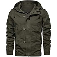 Men's Cotton Windbreaker Jacket Military Zipper Bomber Cargo Outwear Jackets Coat Breathable Lightweight Jacket,Army Green,X-Large