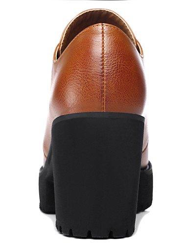 ZQ Scarpe Donna - Stringate - Ufficio e lavoro / Formale / Casual - Tacchi / Plateau - Quadrato - Finta pelle - Nero / Marrone , 3in-3 3/4in-brown 3in-3 3/4in-black