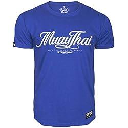 Pulgares Down Muay Tailandés Camiseta Tailandia Patada Boxeo MMA. Gimnasio Entrenamiento. Marcial Artes Informal - Azul, Small