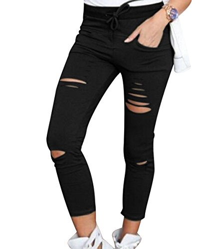 Pantalones Rotos Mujer Pantalon Skinny Slim Mujer Jeggings Leggins Pus