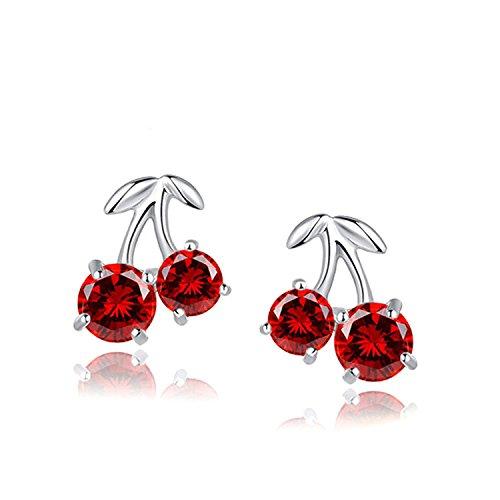 Blingery 925 Silber Rhodium Plated Rot Kirsche Zirkonia Ohrstecker Ohrringe Valentinstag Geschenk für Damen Mädchens (Valentinstag Ohrringe)