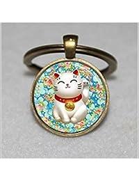 Llavero de gato de la suerte, rosa y azul, diseño de flores, llavero de buena suerte