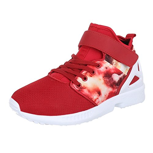 Chaussures pour femme, motif floral, L101, tendance casual chaussures sneakers Rouge - Rouge