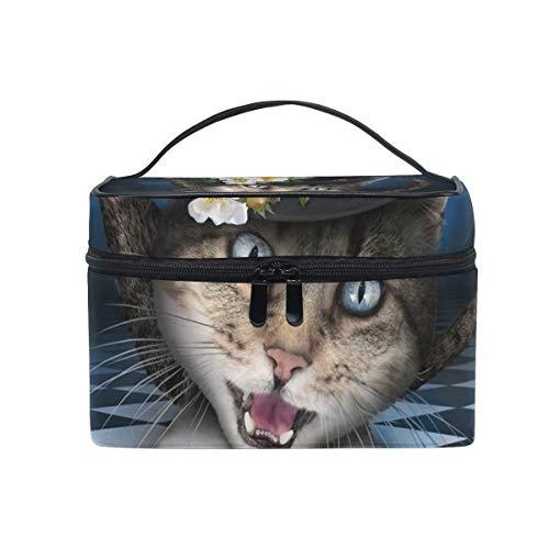Make-upkosmetiktasche-Zusammenfassungs-Zeit-Katzen-Teekannen-beweglicher Speicher mit Reißverschluss