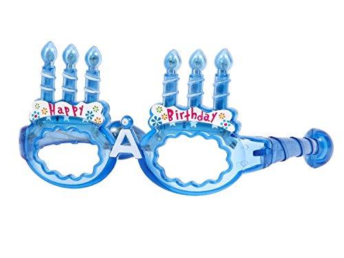 Lunettes lumineuses clignotantes LED, happy birthday anniversaire Lunettes Lumineuses c'est une super idée pour vos soirées de fêtes. cadeau pour enfant ou adulte, choisir:bleu