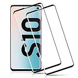 OuTera Verre Trempé Samsung Galaxy S10, Protection écran Film Protecteur pour Samsung Galaxy S10,[3D Couverture Intégrale] [Compatible avec Lecteur d'Empreinte] - [Noir][2 Pièces]