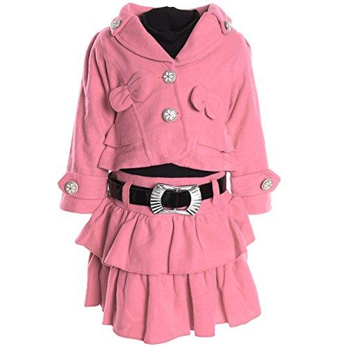 BEZLIT - Abito - stile impero - Basic - Collo a U  - Maniche lunghe  - ragazza Rosa 92 cm / 2 Anni