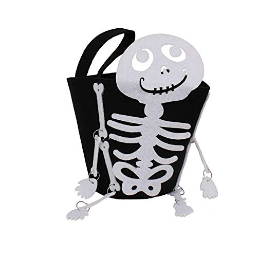 Deanyi Halloween-Süßes sonst gibt's Saures Taschen mit Schädel-Form oder traditionelle Halloween-Süßigkeitstasche Ideal Halloween Spielzeug für Kinder 1PCS (Trick Oder Behandeln Halloween-nacht)
