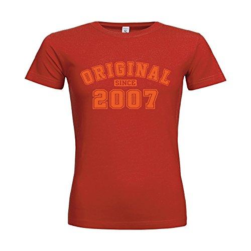 MDMA Frauen T-Shirt Classic Original since 2008 N14-mdma-ftc00524-426 Textil red / Motiv orange / Gr. XXL -