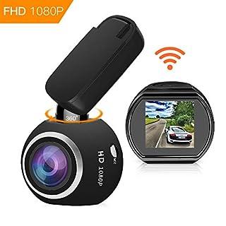 HQBKing WiFi DashCam 1080P Full HD Armaturenbrett Kamera Mini Magnetische Auto DVR mit G-Sensor Nachtsicht Loop Aufnahme Bewegungserkennung 360 ° Drehen Winkel