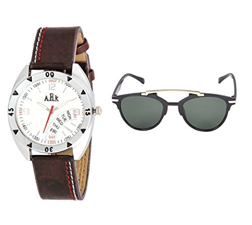 AHK Combo Silver Artificial Pattern Analog Wrist Watch and Unisex Over-sized Sunglass (watch, stylish watch, analog watch, designer watch, partywear watch, trendy watch, sunglasses, mens sunglasses, sunglass for men, women sunglasses, sunglasses for women)