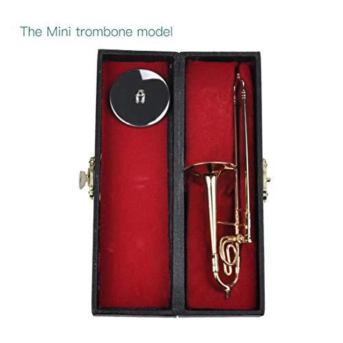 WEIHAN Mini Posaune Mit Ständer Basis Musikinstrumente Fein Vergoldet Handwerk Miniatur Posaune Dekoration Ornament (Posaune Ornament)
