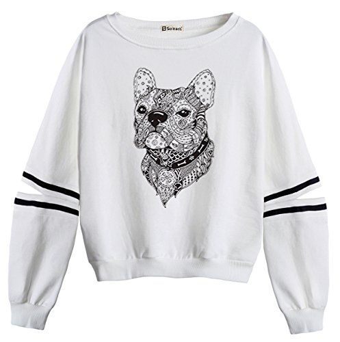 So'each Women's Dog Geometry Stripes Casual Sweater Pullover Sweatshirt (Mantel Stripe Tiger Baumwolle)