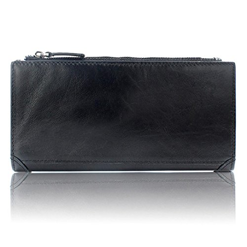 WOCACHI Herren Geldbörsen Männer echtes Leder Mappen Leder-Kredit / ID-Kartenhalter Geldbeutel Reißverschluss Mappe (A-Gelb) Schwarz