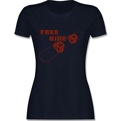 Wintersport - Snowboard - Free Ride - tailliertes Premium T-Shirt mit Rundhalsausschnitt für Damen Navy Blau