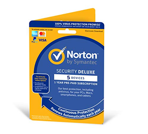 Norton Security Deluxe 2019 | 5 Devices | 1 Year | Antivirus Included | PC/Mac/iOS/Android | Activation Code by Post