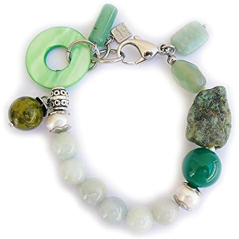 Braccialetto in giada, con amazzonite, Unakite, perla