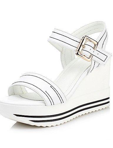 LFNLYX Chaussures Femme-Décontracté / Soirée & Evénement / Habillé-Noir / Blanc-Talon Compensé-Compensées-Sandales-Similicuir Black