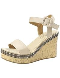 OD Ouneed ® Mujeres Pescado Boca Plataforma Tacones Altos Cuña Sandalias Hebilla Pendiente Verano Zapatos