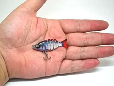 Silver roach realistic FRY Multi Jointed Fishing Lure / Swimbait Bait for perch pike 50mm / 2g / 6 segments by FISHIN ADDICT