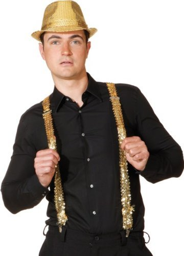 Hosenträger: Bundhalter, Pailletten, gold (Kind Pink Panther Kostüm)