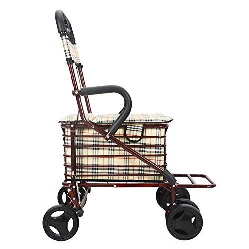 Ältere Motorradsitz Klappwagen Lebensmitteleinkauf kann vier Schritte dauern, die helfen können, kleine Wagenwagen für ältere Menschen zu schieben