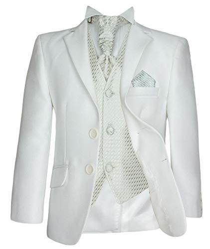 Abito da 5 pezzi formale sposa taglio italiano vestito su misura per ragazzi in crema e avorio età 12 anni