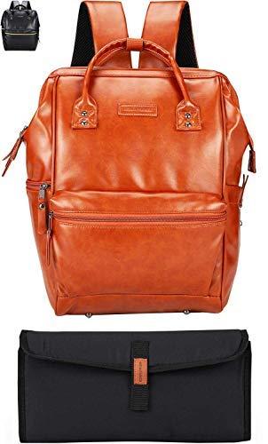 Veganer Wickelrucksack aus Leder, Unisex, weite offene Laptop-Tasche mit Kinderwagenriemen, Wickelunterlage, mehrere isolierte Taschen für Eltern