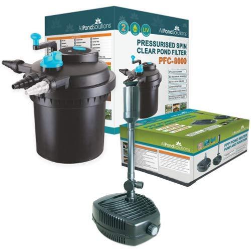 Système de filtration de bassin sous pression PFC-8000 avec stérilisateur UV 11w intégré et pompe de bassin 4500
