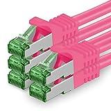1aTTack.de 625102 Cat.7 Netzwerkkabel 2m Magenta - 5 Stück - Cat7 Ethernetkabel PoE+ LAN Kabel Rohkabel 10 Gb/s (S-FTP PIMF) Set Patchkabel mit Rj 45 Stecker Cat.6a 5 x 2 Meter Magenta