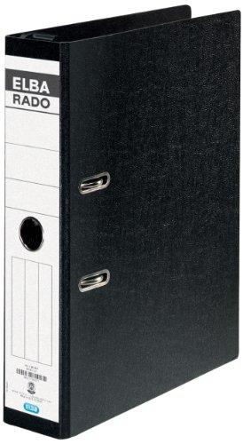 ELBA Hängeordner rado Hartpappe DIN A4 7,5 cm breit mit schwarz mit Hängeschwenkbügel aus Kunststoff Ring-ordner Aktenordner Briefordner Büroordner Pappordner Schlitzordner Blauer Engel