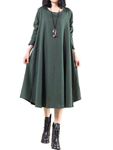 MatchLife Femme Col Rond Big Hem Robe Vert