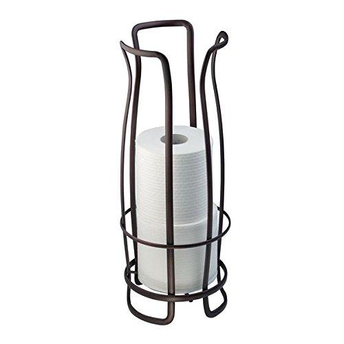 mDesign Toilettenpapierhalter ohne Bohren - Klorollenhalter fürs Badezimmer - Papierrollenhalter freistehend - Farbe: Bronze -