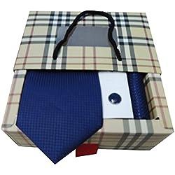 Riyasat - Blue Color Micro Fibre Men Tie, Cufflink And Pocket Square Gift Set .