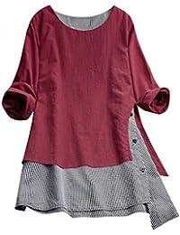 POLP Vestidos Vintage Mujer Vestidos Retro Manga Larga otoño Invierno 2019 Cuadros Vestido Blusa Algodón y Lino Vestidos Sueltos Vestido Mini Camisa Tallas Grandes Vestidos de Fiesta Cortos Casual