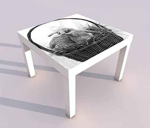 Design - Tisch mit UV Druck 55x55cm schwarz weiss Hase Häschen Ostern Osterhase Korb Gras Spieltisch Lack Tische Bild Bilder Kinderzimmer Möbel 18A2183, Tisch 1:55x55cm