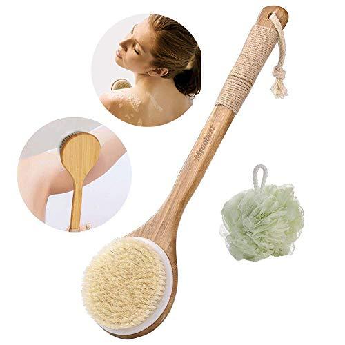 Scopri offerta per Spazzola per il Corpo Spazzola da bagno spazzola e sfera di doccia 2in 1-Setole Naturali-Migliora la circolazione sanguigna riduce la cellulite cura della pelle delle donne e degli uomini