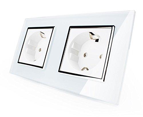 Doppel Steckdose Livolo Elektrischer Steckdosen EU 2-polig + Erde Verbindung zu schrauben 16A Weiß (Weiß 2 Schrauben)